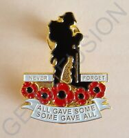 Never Forget All Gave Some Remembrance Day Poppy Soldier Metal Lapel Pin Badge