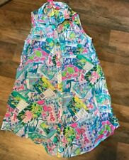 Lilly Pulitzer Natalie Sleeveless Shirtdress CoverUp Pop Up Wish you Were Here