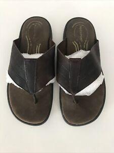 Rockport Brown Mens Leather Flipflops Size Eur 40