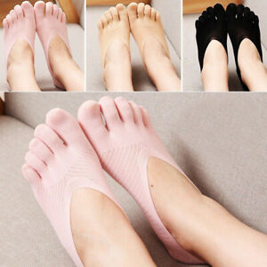 10 Pairs Women FIVE FINGER Toe SOCKS with Silicone Pad INVISIBLE No Show Low Cut