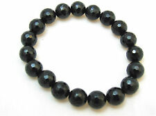 Black Tourmaline Faceted 10mm Protection Bracelet Chakra Healing Balance Prayer