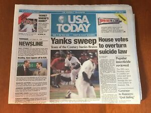 USA TODAY 10/28/99 YANKS SWEEP  YANKEES WIN 1999 WORLD SERIES DEFEAT BRAVES