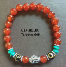 Eyes Dzi Beads Agate Stone Buddha Face For Peace & Lucky Mens Womens Bracelet