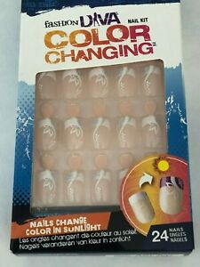 BROADWAY FASHION DIVA COLOR CHANGING GLUE ON NAILS SHORT LENGTH BCFD01