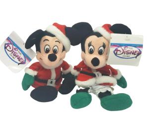 "7"" DISNEY MICKEY & MINNIE MOUSE SANTA CHRISTMAS STUFFED ANIMAL PLUSH BEAN BAG"
