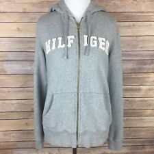 Tommy Hilfiger Full Zip Up Hoodie Jacket Size M Gray White Spellout Sweatshirt