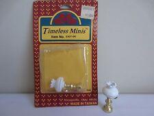 Pair of Vtg Timeless Minis White & Brass Hurricane Lamps Dollhouse Miniatures