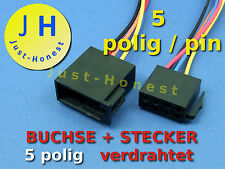 ISO BUCHSE+STECKER 5 polig / way verdrahtet Male + Female Connector wired #A295