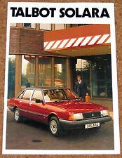 TALBOT SOLARA Launch Brochure 1980 - 1.3LS, 1.6LS, 1.6GLS, 1.6SX