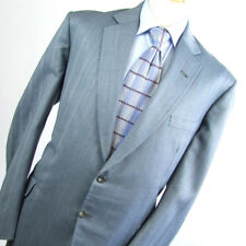 Suit Essential Mens Blue Suit 44/40 Regular Single Breasted Wool Striped