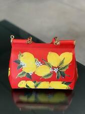 Gabbana Miss Sicily MediumBAG Red With Lemon Print NWT Authentic