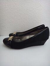 BANDOLINO Jonner Womens Platforms Wedges Round Toe Pumps Black Textile Shoes~6.5