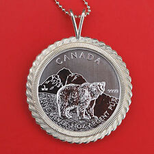 2011 Canada .9999 Fine Silver 1 Oz Argent Pur $5 Coin Silver Necklace - Grizzly