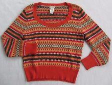 St. John's Bay Women's Angora Blend L/S Scoop Neck Orange Tribal Sweater - M