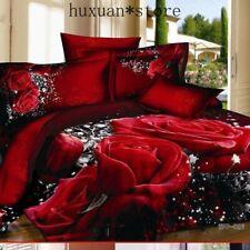 3D Red Rose Queen King Size Cotton Bedding Set Duvet Cover Pillowcase 4Pcs Sheet