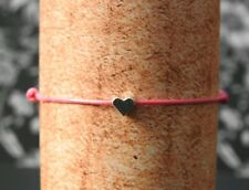 Pink Cord Bracelet 1mm With Love Heart Pendant
