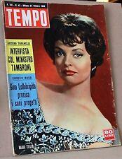 Tempo - 27 ottobre 1959. ministro Tambroni, Gina Lollobrigida, Enrico Roda, Tofa