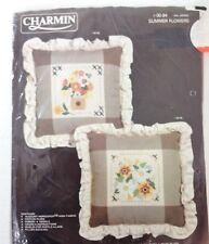Charmin Counted Cross-Stitch Summer Flowers Pillow Kit NEW 00-94 Janlynn Corp