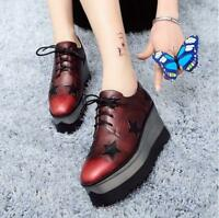 Retro Womens Lace Up Platform Square Toe Shoes Star Thicken Heel Muffin Creeper