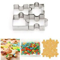 4PC Puzzle Shape Cookie Mold Cutter Fondant Cake Decorating Tool Stainless Steel