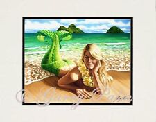 """Lanikai Mermaid"" 11x14 Print by Hawaii watercolor artist Garry Palm"