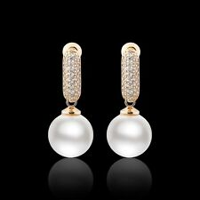 Lovely white pearl attractive 18k gold filled Swarovski crystal dangle earring