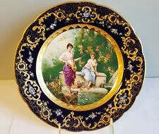 Superior Dresden George Heufel & Co. Hand Painted Cabinet Plate ca1895 Gold Gilt