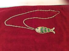 "Vintage Articulated Fish Pendant With Dangling Scales Vtg Necklace 15 1/2"" Long"