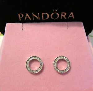 Pandora Sparkling Circle Earrings Forever~Sterling Silver