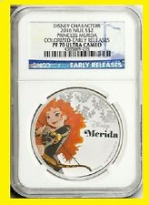 2016 Niue 1 Oz Colorized Silver $2 Disney Princess:MERIDA NGC PF70 ER POP 207