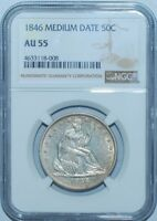 1846 NGC AU55 Medium Date Seated Liberty Half Dollar