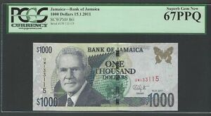 Jamaica 1000 Dollars 15-1-2011 P86i Uncirculated Graded 67