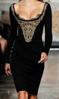 New $3,250 Emilio Pucci Embroidered Lace Black Gold Runway Dress US 4 6 / IT 40