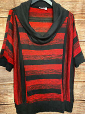 Cato Woman Red Black Knit Batwing Dolman Sleeve Blouse Top Plus Size 22/24W