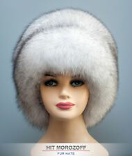Saga BLUE FOX Fur Winter White Hat Russian Schapka Pelzmütze Fellmütze Damen