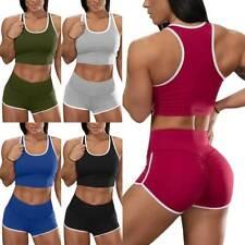 Women Gym Workout Yoga Fitness Tracksuit Set Athletic Racerback Tank Sports Suit