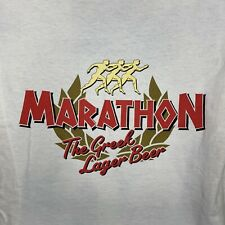 Marathon Greek Lager Beer T-Shirt White Mens Medium 2-Side Mullet Print Ss New