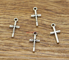 50 Cross Charms Religious Crucifix Faith ChurchCharms Antique Silver 9x19 2559