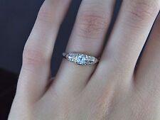 $2,175 Estate Vintage 14K Yellow White Gold Round Diamond Engagement Ring Band