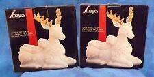 Images set of 2 jade porcelain reindeer candle holder with red candles NIB
