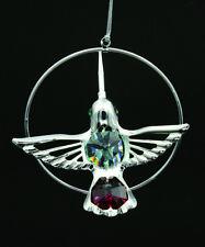 Swarovski Col 000018B4 Or Crystal Studded Hummingbird Figurine Ornament Silver Plated