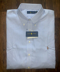 NWT!!! Ralph Lauren Mens Dress Shirt Sz 19-34/35 Blue White Stripe
