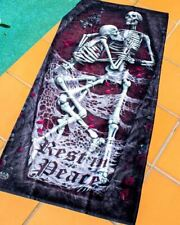 Spiral Gothic Rest In Peace Beach Towel Skeleton Coffin Couple RIP Spiderwebs