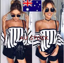 Womens Striped Off Shoulder Strapless Casual Tops T-Shirt Loose Beach Blouse
