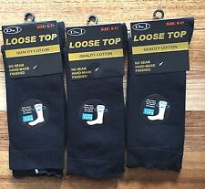 6Pairs 6-11 Men Cotton Loose Top Dress Work Socks Medical Diabetic Comfort Black