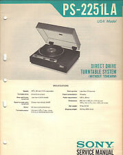 Sony PS 2251LA Service Manual turntable record player Original Repair Book