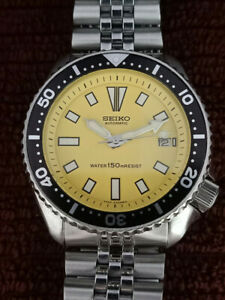 VINTAGE YELLOW FACE MODDED SEIKO DIVER 7002-7000 AUTOMATIC MEN'S WATCH 542633