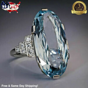 Women's Jewelry Charm Oval Cut Aquamarine 925 Silver Rings Gifts Rings Size 6-10