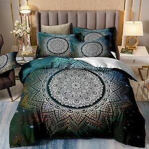 Mandala Floral Quilt Doona Duvet Cover Set Queen/King Size Bedding Pillow Cases