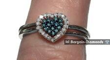 blue diamond heart .30 carat wedding engagement band halo bridal set rings 925